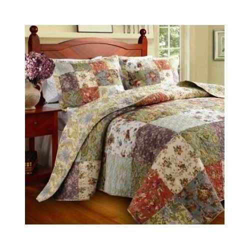 Full Queen Size Quilt Set Home Bedding Reversible Cotton 2 Shams Multi Color New #GreenlandHome #CountryCottage