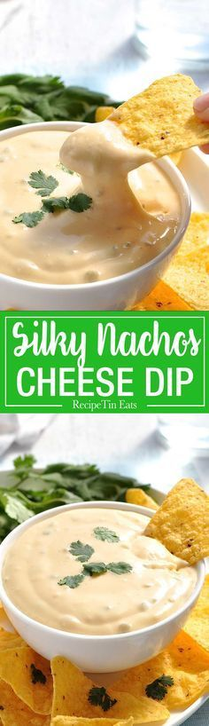 Nachos Cheese Dip that stays silky smooth even when it cools! Just 5 min to make, without using processed cheese!…