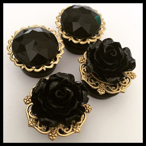 2 PAIRS Black Rose Gem Holiday Fancy Girly Ear Guages Plugs