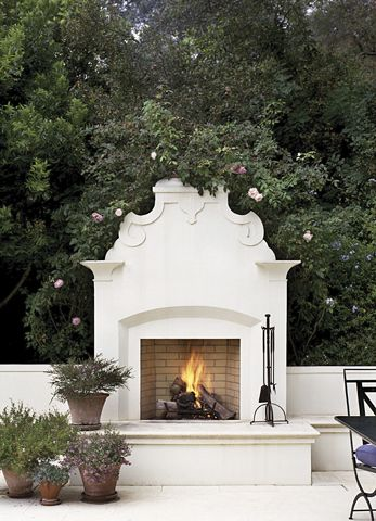 unique and elegant outdoor fireplace