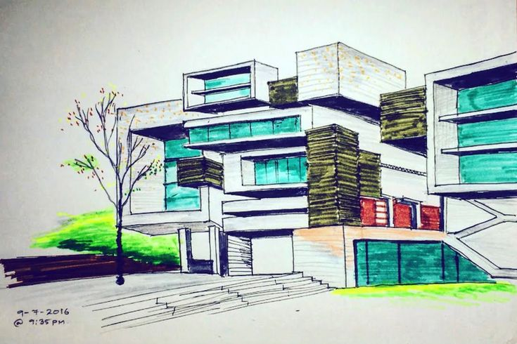 Two point perspective freehand building drawing #2 (time lapse ) - YouTube