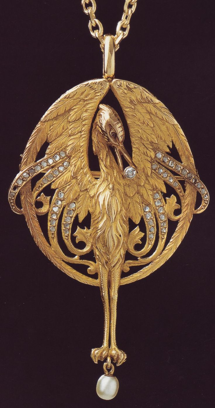 Luis Masriera, gold pendant with diamonds & pearl