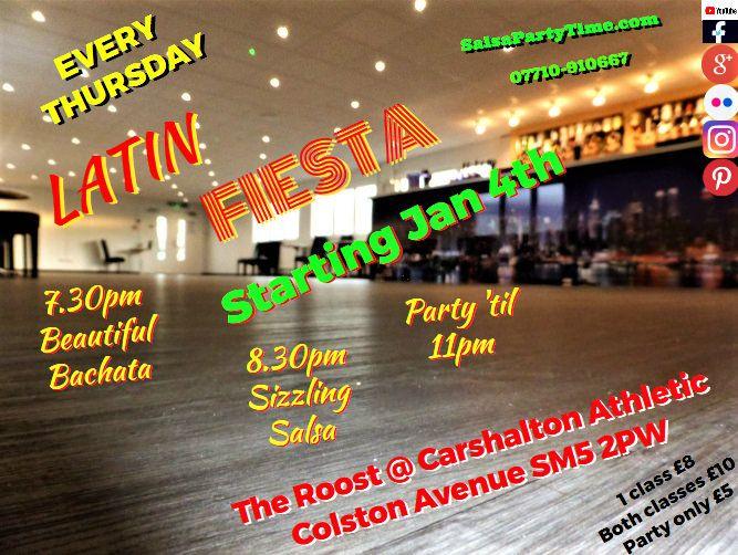 SALSA BACHATA LONDON CARSHALTON ❤️  THRILLING THURSDAYS LATIN FIESTA 25.01.18  @ The Roost,  Carshalton Athletic,  Colston Avenue, CARSHALTON SM5 2PW✔️