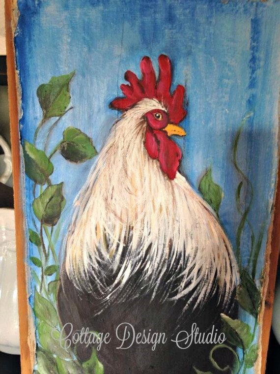 Rooster Farmhouse Painting, Rooster Painting, Rooster Kitchen Decor,  Country Decor, French Country Decor, Rooster Sign, Chicken Coop Decor