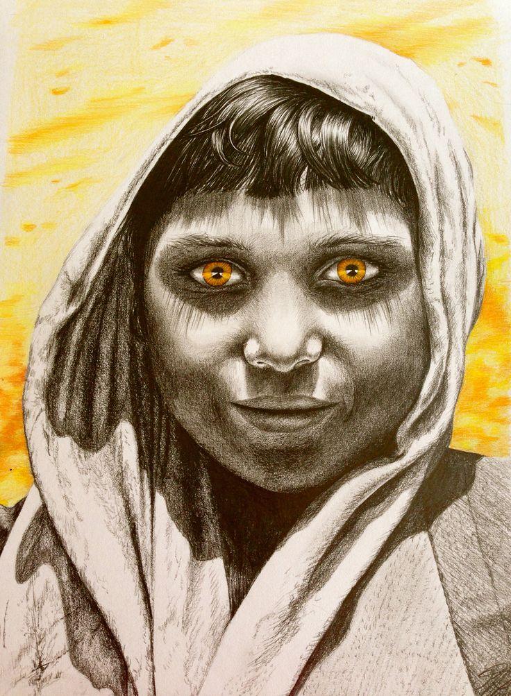 gril from afganistan drawn by artist Kirstine Wistrup