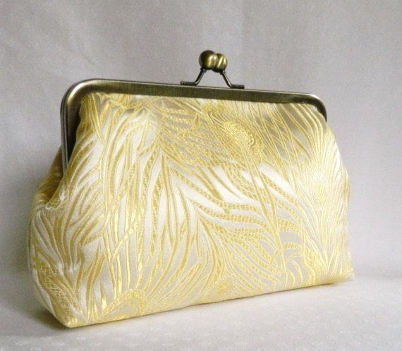 Golden Peacock Feathers Design Bridal Clutch by TheHeartLabel, £32.84