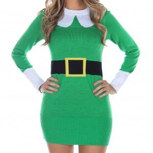 """Elf Sweater Dress  Although the world of fantasy fiction is overflowing bookstores and movie theaters with images of elves, there's still no substitute for the good old fashioned Santa's Helper. This thigh length Christmas sweater dress is bright green with white cuffs, a flattering Peter Pan style collar, and even a wide black belt and buckle woven in. It's the ideal outfit for the Christmas party """""""" especially if you are accompanying Santa!"""