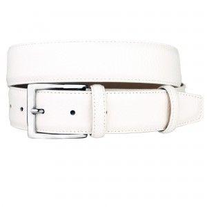 Cintura bianca in pelle bottalata