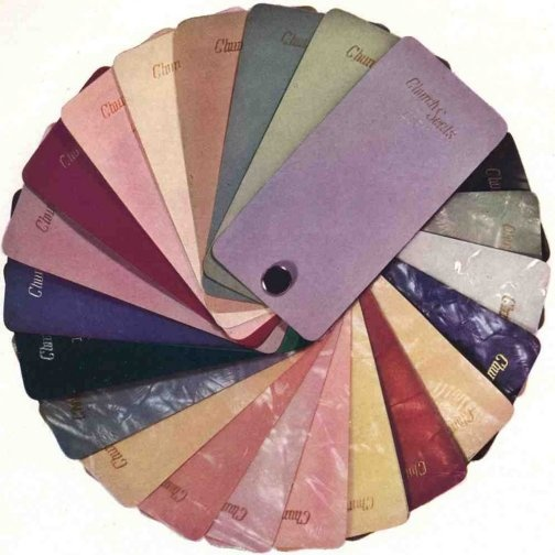 40's colour palette  (Remember this palette? It's from the Church toilet seat company – and it captures the 40 palette very will indeed. Happy decorating all you owners of 40s homes… — Retro Renovation)