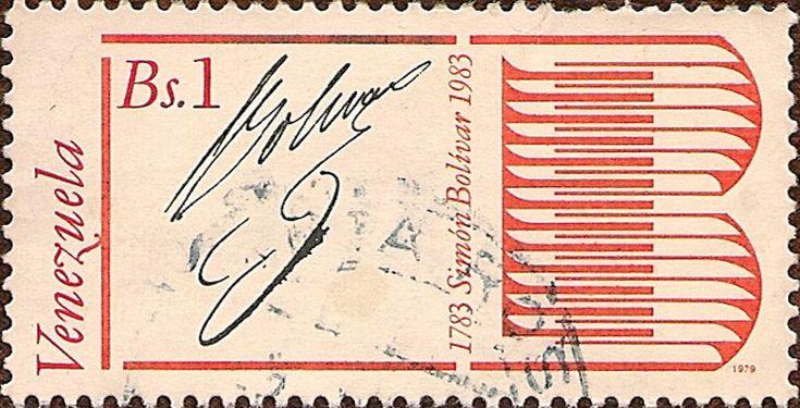 Bicentenario del Nacimiento de Simón Bolívar, 1783-1983. Firma de Bolívar.