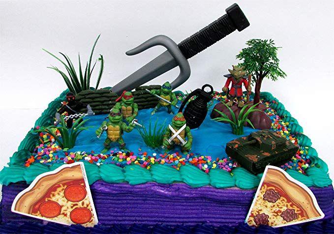 Teenage Mutant Ninja Turtles 17 Piece Birthday Cake Topper Set Featuring Sensei Splinter Donatel Birthday Cake Toppers Ninja Cake Teenage Mutant Ninja Turtles