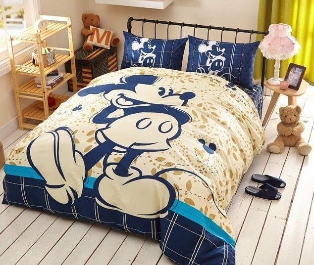 Twin & Queen Size Blue and Tan Mickey Mouse Duvet Cover Bedding Set | Home & Garden, Kids & Teens at Home, Bedding | eBay!