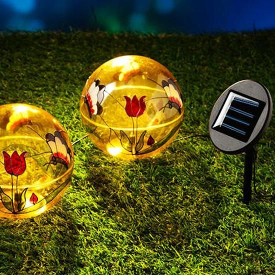 solar outdoor lights in globe shape with flowers