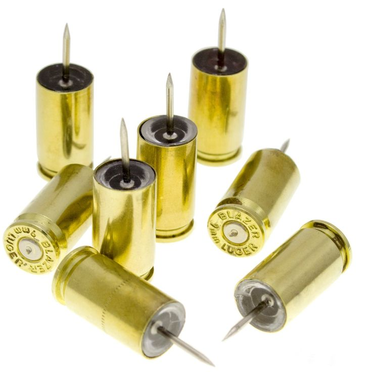 These 9mm bullet casing push pins not only make a statement, but are functional as well! Manufactured from once-fired, American made 9mm bullet casings.