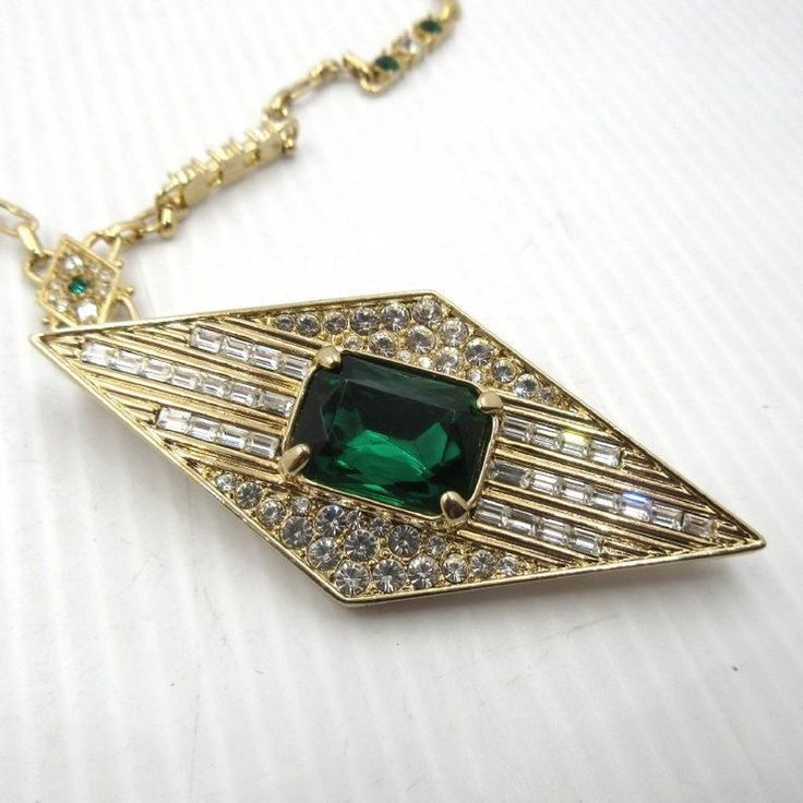 Jackie Kennedy Pin Pendant Enhancer Gold With Emerald And Crystal Stones 185 In 2020 Stones Crystals Gemstone Jewelry Pendants