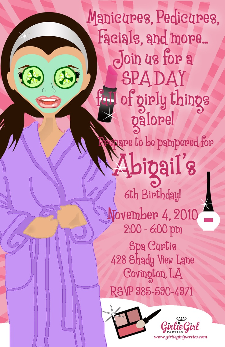 17 best ideas about Spa Party Invitations – Make My Own Party Invitations