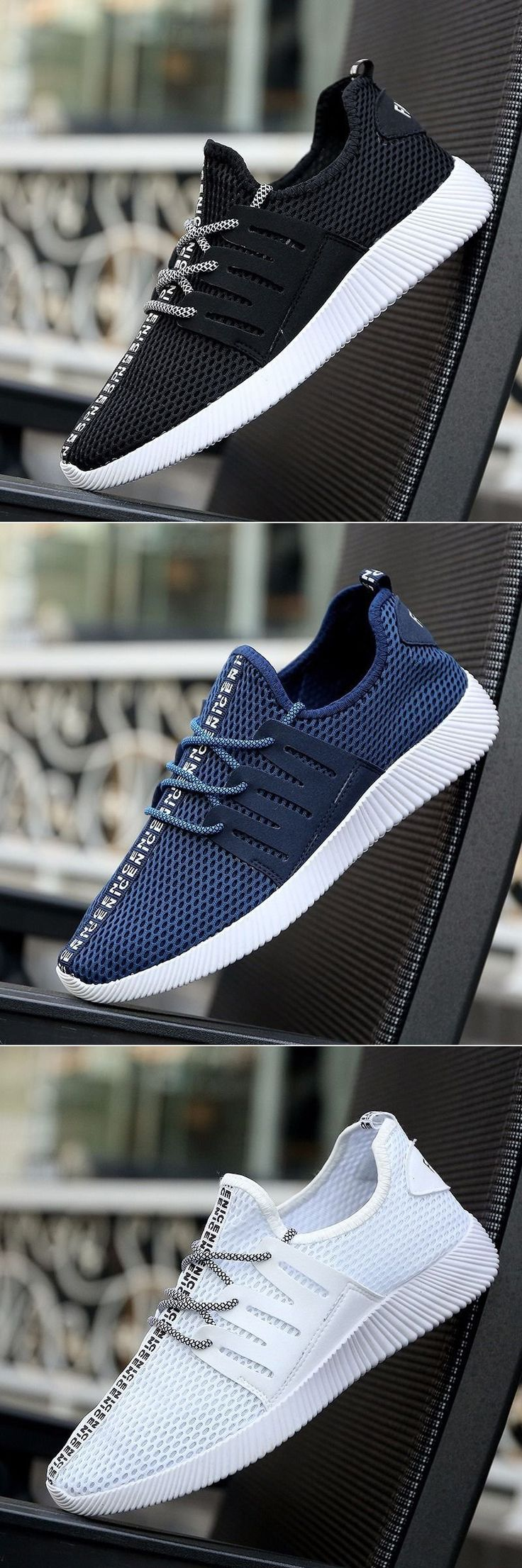 Men Mesh Fabric Breathable Casual Light Running Shoes Slip On Sneakers