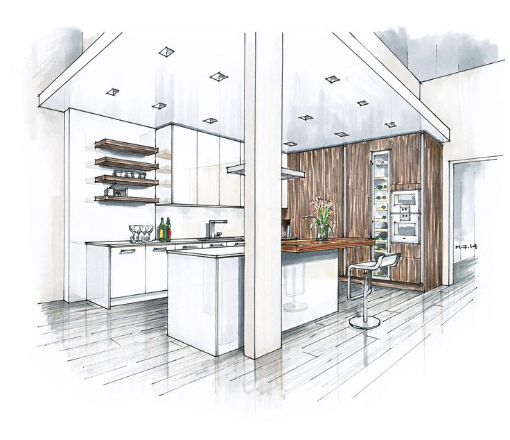 ... Interior Design Sketches Kitchen