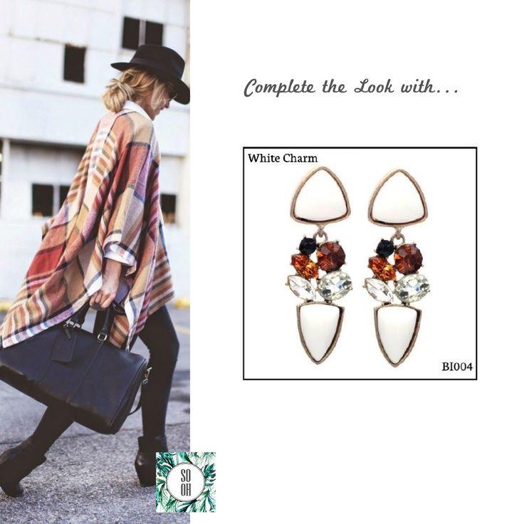 Ref: BI004 White Charm Medidas: 5.9 cm x 2 cm  So Oh: 10.99 🌱#sooh_store #onlinestore #style #inspiration #styleinspiration #brincos #earrings #fashion #shoponline #aw2016 #aw1617 #winterstyle