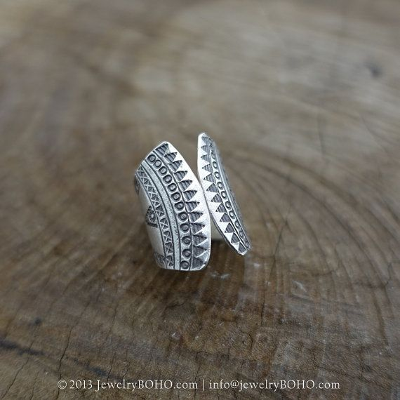 BOHO, Gypsy ring, Hippie ring, Bohemian style, Statement ring R096-JewelryBOHO - Handmade sterling silver BOHO Tribal printed ring