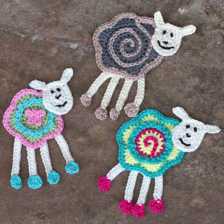 Colorful Sheep Crochet Applique Appliques Free Pattern