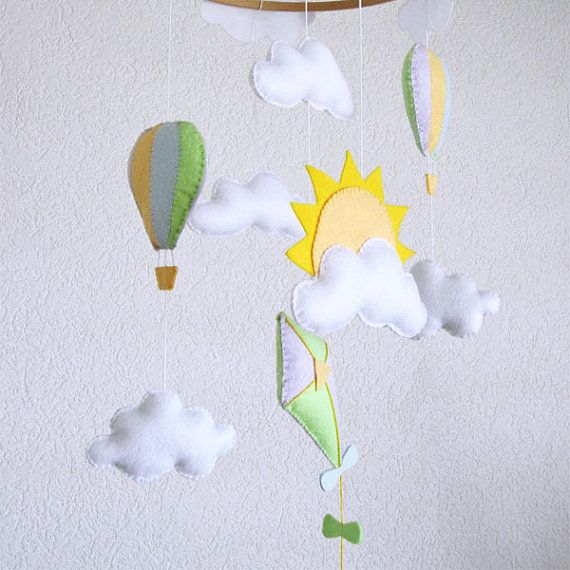 Flying kite, Hot air balloons and Clouds baby crib Deco Mobile. Choose your colors for an unique baby nursery mobile