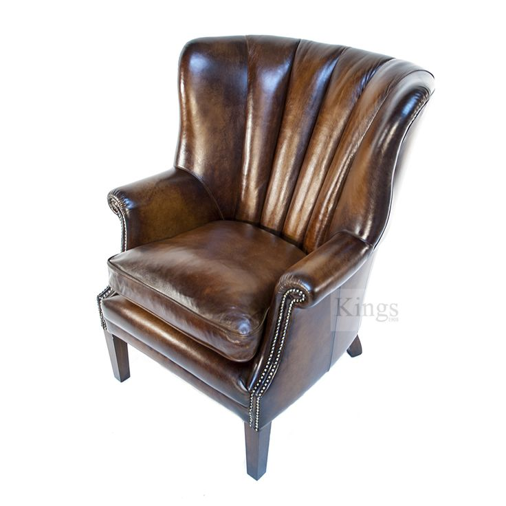 Contrast Upholstery Beardsley Chair in Hand Antiqued Leather.  www.kingsinteriors.co.uk/brands/contrast-upholstery
