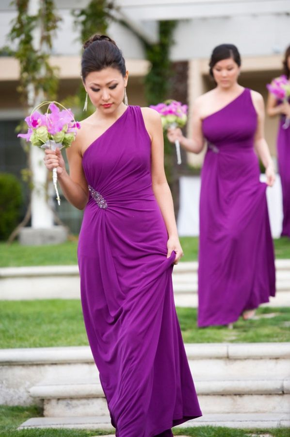 long purple dresses with jeweled details...good idea for bridesmaids who dont like showing much skin