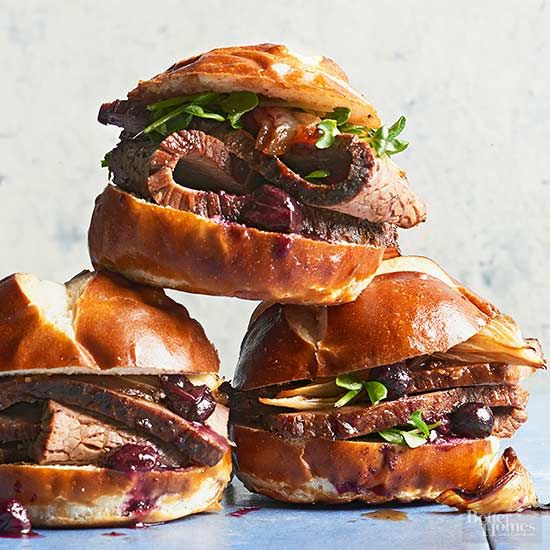 This beef brisket sandwich moves from stovetop to oven in one Dutch oven for slick clean-up. Fresh blueberries and bacon upgrade basic brisket. /