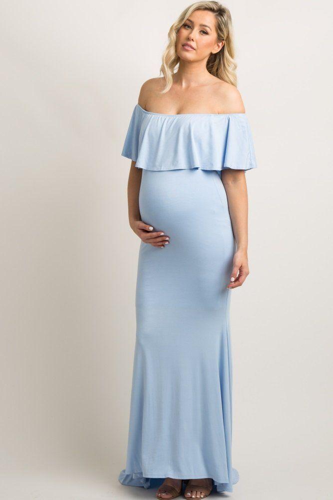 de885d9c6c9 Blue Ruffle Off Shoulder Mermaid Maternity Photoshoot Gown Dress A solid  hued