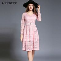 2016 Women Lace Autumn Dress Crochet Casual V Neck Long Sleeve Bodycon Plus Size Pink/White/Black Party Dress Clothing