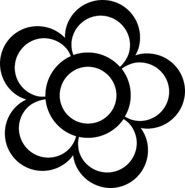 Gambar Bunga Kartun Hitam Putih 5 Kelopak