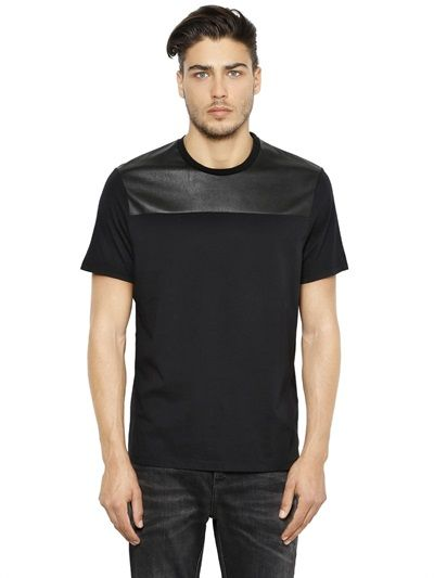 NEIL BARRETT - FAUX LEATHER & COTTON T-SHIRT - LUISAVIAROMA - LUXURY SHOPPING WORLDWIDE SHIPPING - FLORENCE