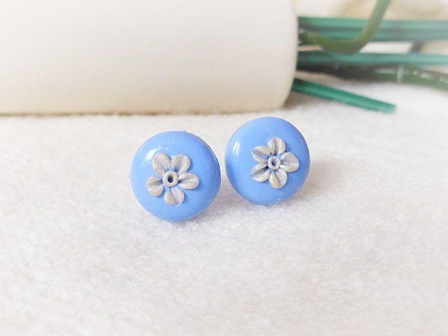 Cornflower Blue Applique Flower Stud Earrings, Blue Round Stud Earrings, Flowers £7.00