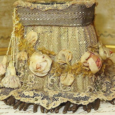 Antique Ribbonwork Lampshade w Silk Cabbage Roses Lace Bullion Trim French Doll | eBay