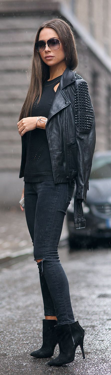 Johanna Olsson is wearing all black, ankle boots from Zara, Jeans from Asos, leather jacket from Stand, and the top is from Belair... | Style Inspiration