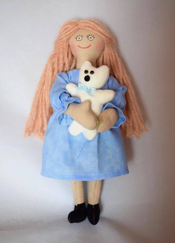 Girl Doll Holding Teddy Bear  Art Doll  Toy Doll  Handmade