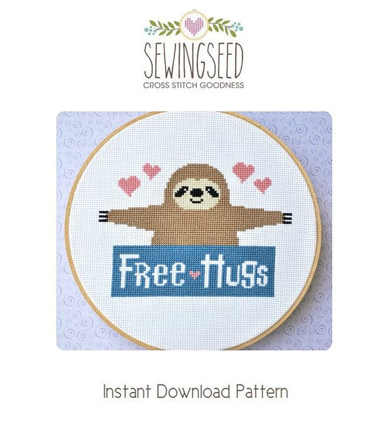 Sloth Free Hugs Counted Cross Stitch Pattern Instant Download