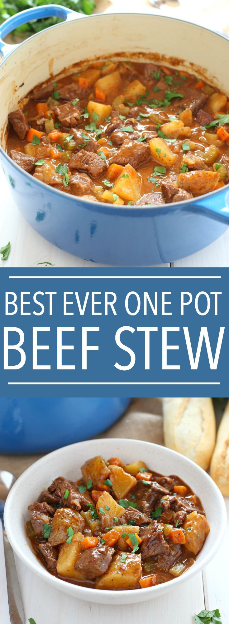 This Best Ever One Pot Beef Stew is an easy, classic beef stew recipe that cooks to perfection on the stove top and in the oven. It's the best comfort food!