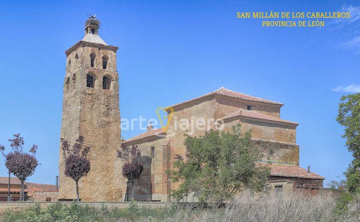 San Millán de los Caballeros, León, Iglesia de San Miguel con torre románica realizada en mampostería en el S. XII