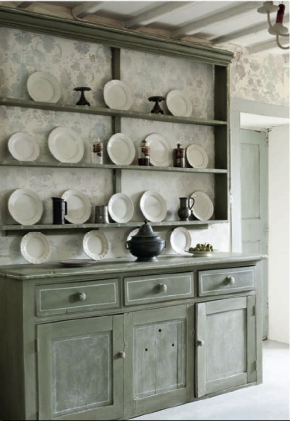 Vintage cupboard painted by Annie Sloan with Chalk Paint® in Chateau Grey for her French farmhouse | Feature by Deco Mag from the book Color Recipes published by Cico Books | Photography by Christopher Drake.