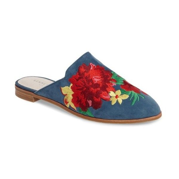 Women's Kenneth Cole New York Roxanne Embroidered Mule ($140) ❤ liked on Polyvore featuring shoes, indigo suede, kenneth cole shoes, suede shoes, suede mule shoes, indigo shoes and multicolor shoes