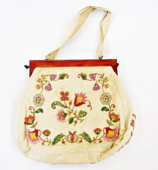 Embroidered handbag with bakelite clasp  Estimate £30.00 to £50.00 (Lot no: 156 in sale on 05/08/2014) The Cotswold Auction Company