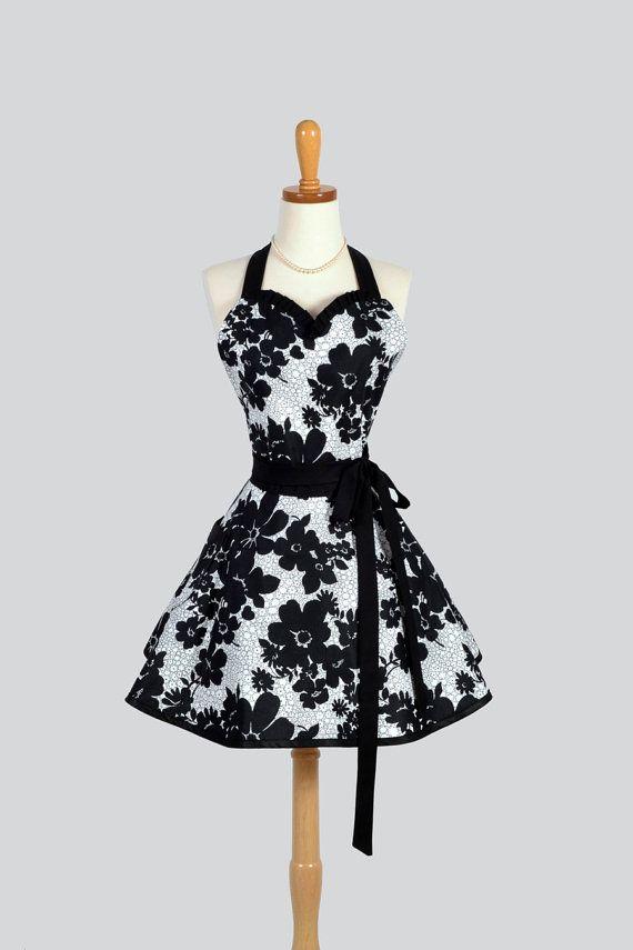Sweetheart Retro Apron - Retro Sexy Womens Apron Elegant Black and White Lace Floral Cute Apron Full Kitchen Apron Personalize or Monogram