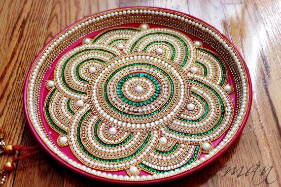 Pooja thali decorative henna mehndi design thali festive for Aarti thali decoration with kundan