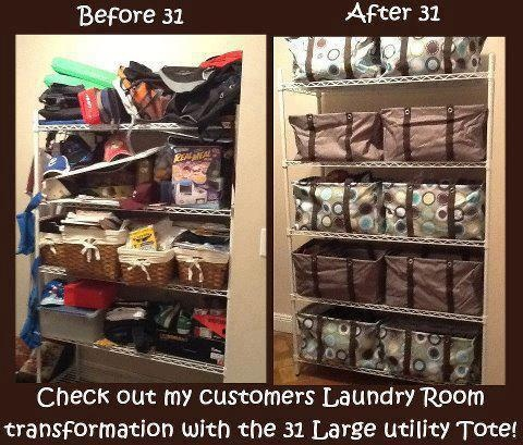 Get your closets organized with the Large Utility Tote!  Before and After! Join my FB group, just click the pic!
