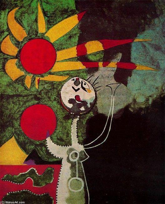 Joan Miro >> Mujer delante del sol  |  (oleo, obra de arte, reproducción, copia, pintura).