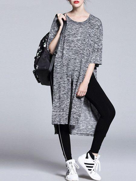 Fashion Grey Asymmetric Top