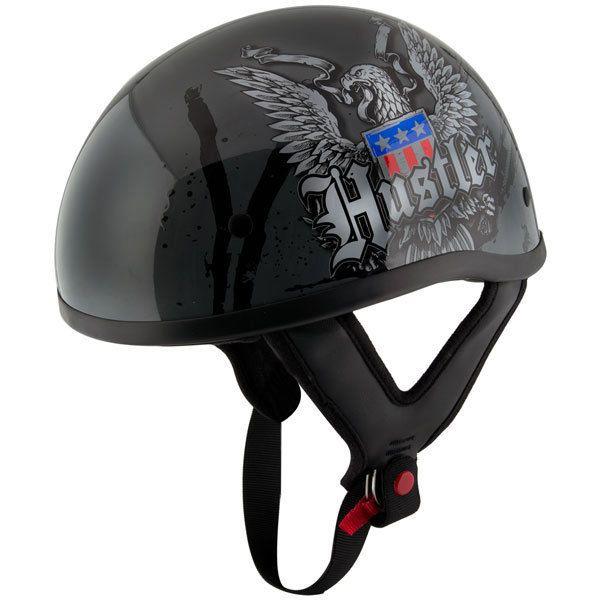 Hustler HT-1 Ride Hard Glossy Motorcycle Skull Cap Half Helmet DOT  #HUSTLER #Motorcycle