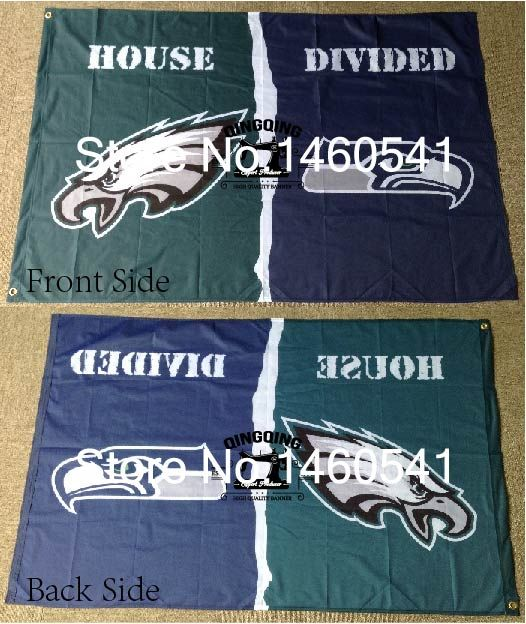 Philadelphia Eagles Seattle Seahawks House Divided Flag 3ft x 5ft Polyester NFL Banner Size No.4 144*96cm QingQing Flag